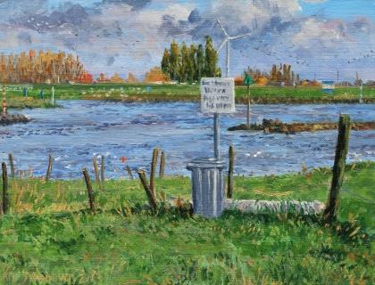 Lek bij Vianen, olieverf, 19 x 24 cm, 11/2013, huile, Le Lek à Vianen