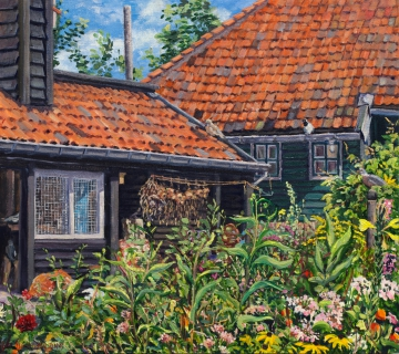 Huis Adri - Landsmeer, olieverf, 31 x 35 cm, 9/2015, huile, La maison de Adri