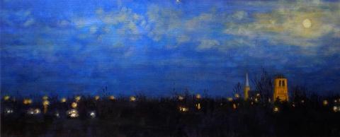 Kerktorens Beesd, olieverf, 19 x 46 cm, 3/2007, huile, Les clochers de Beesd