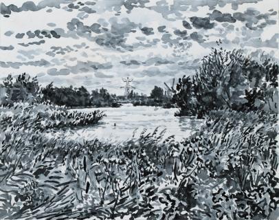 Het Twiske, Landsmeer, sumi-inkt , 24 x 30 cm, 10/2020, encre sumi, Polder Landsmeer