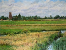 Kerktoren Ransdorp, olieverf, 19 x 25 cm, 7/2007, huile, Le clocher de Ransdorp