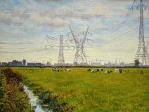 Bij Durgerdam, olieverf, 19 x 25 cm, 9/2007, huile, Environs de Durgerdam