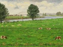 De Lek bij Vreeswijk, olieverf, 19 x 25 cm, 9/2008, huile, Le Lek à Vreeswijk