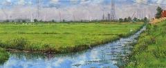 Polder IJdoorn, olieverf, 19 x 46 cm, 9/2008, huile, Polder IJdoorn