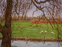 Schemering te Rumpt, olieverf, 19 x 25 cm, 3/2007, huile, Rumpt - crépuscule