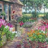 Tuin Neerijnen, olieverf, 35 x 35 cm, 7/2016, huile, Jardin à Neerijnen