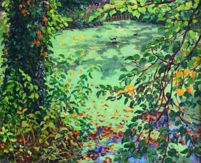 Sorghvliet, Den Haag , olieverf, 26 x 32 cm, 8/2019, huile, La Haye