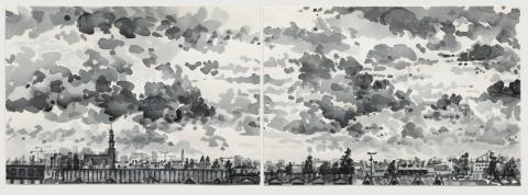Van Diemenstraat, Amsterdam,sumi-ink,  2x (18 x 24) cm, 11/2019, huile, Amsterdam