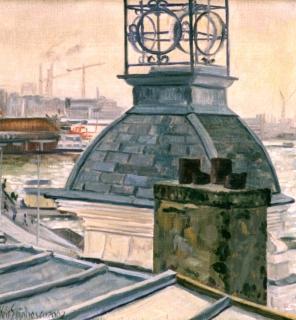 Het IJ, gezien vanuit de Vinke-toren, A'dam, olieverf, 22 x 20 cm, 2002, huile, Amsterdam