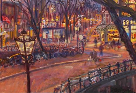 Uitzicht Prinsengracht 449, Amsterdam, olieverf, 26 x 38 cm, 12/2015, huile, Amsterdam