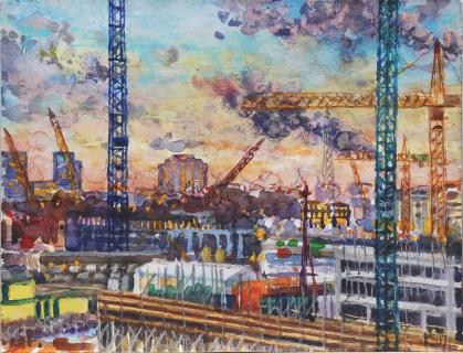 Houthaven Amsterdam, aquarel/pastel, 18 x 24 cm, 1/2017, aquarelle/pastel, Amsterdam