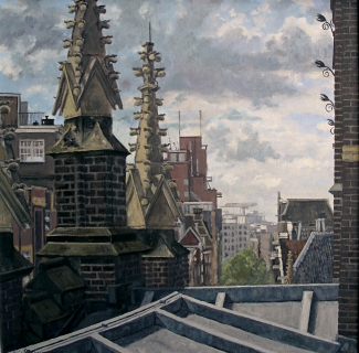 Pinakels Dominicuskerk, Amsterdam, olieverf, 35 x 35 cm, 2002, huile, Amsterdam