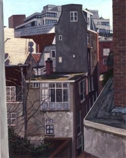 Uitzicht Suikerbakkerssteeg III, Amsterdam, olieverf, 40 x 30 cm, 2003, huile, Amsterdam