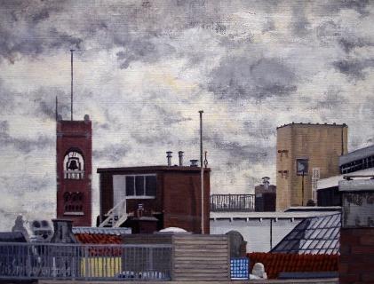 Toren Beurs van Berlage, Amsterdam, olieverf, 19 x 25 cm, 9/2004, huile, Amsterdam