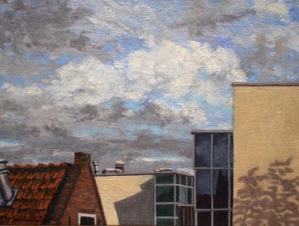 De Kolk, nieuwbouw Ben van Berkel, A'dam, olieverf, 19 x 25 cm, 11/2004, huile, Amsterdam