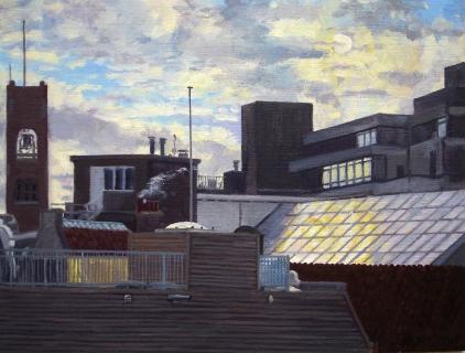 Toren Beurs van Berlage, Amsterdam, olieverf, 19 x 25 cm, 11/2004, huile, Amsterdam