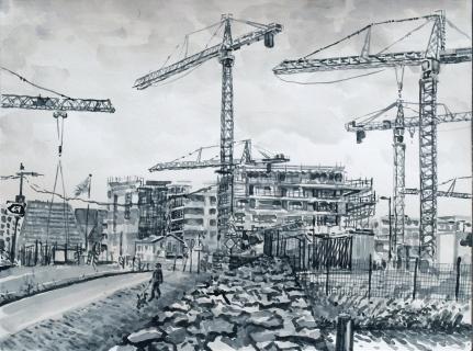 Van der Pekbrug, Amsterdam Noord, sumi-inkt , 30 x 40 cm, 9/2020, encre sumi, Amsterdam