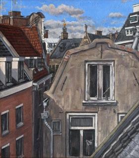 Westertoren vanuit Suikerbakkerssteeg, A'dam, olieverf, 36 x 31 cm, 1996, huile, Amsterdam