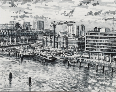 Houthaven, Amsterdam,sumi-ink, 24 x 30 cm, 11/2019, huile, Amsterdam