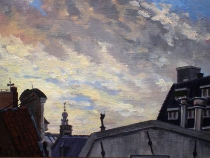 De Westertoren, Amsterdam, olieverf, 19 x 25 cm, 11/2004, huile, Amsterdam