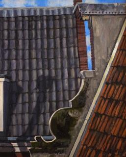 Amsterdamse daken, olieverf, 24 x 19 cm, 11/2004, huile, Toits d'Amsterdam