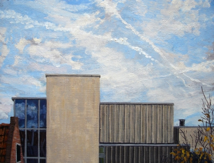 De Kolk, nieuwbouw Ben van Berkel, A'dam, olieverf, 24 x 32 cm, 11/2004, huile, Amsterdam