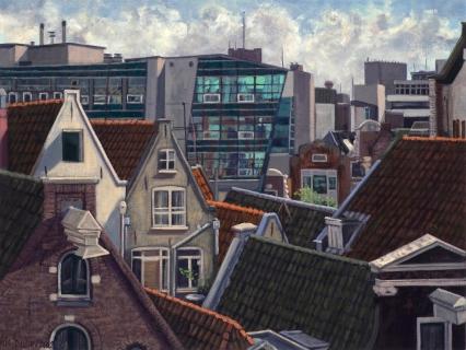 De Kolk, nieuwbouw Ben van Berkel, A'dam, olieverf, 19 x 25 cm, 12/2004, huile, Amsterdam