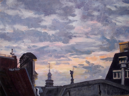 De Westertoren, Amsterdam, olieverf, 19 x 25 cm, 12/2004, huile, Amsterdam