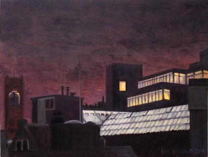 Toren Beurs van Berlage, Amsterdam, olieverf, 19 x 25 cm, 12/2004, huile, Amsterdam
