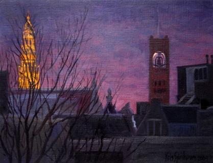 Oude Kerk - Beurs van Berlage, Amsterdam, olieverf, 19 x 25 cm, 12/2004, huile, Amsterdam