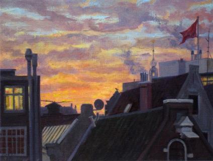 Oude Kerk - de Kolk, Amsterdam, olieverf, 19 x 25 cm, 1/2006, huile, Amsterdam