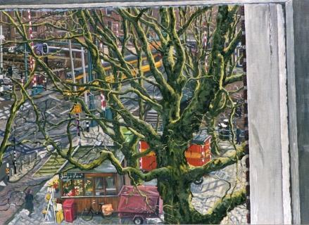 Kinkerbrug, Amsterdam, olieverf, 40 x 55 cm, 2001, huile, Amsterdam