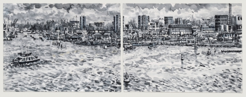 Pont naar de Distelweg, Amsterdam,sumi-ink,  2x (18 x 24) cm, 12/2019, huile, Amsterdam