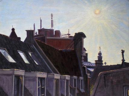 De engel van de Nw. Zijds Vbwal, Amsterdam, olieverf, 19 x 25 cm, 3/2006, huile, Amsterdam
