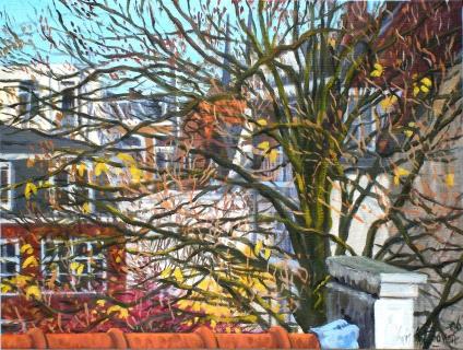 Uitzicht achterhuis Prinsengracht 509/3, A'dam, olieverf, 19 x 25 cm, 11/2006, huile, Amsterdam