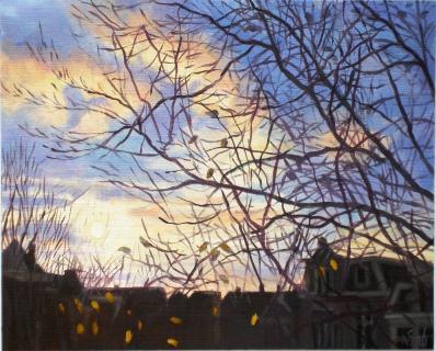 Uitzicht Prinsengracht 509/3, Amsterdam, olieverf, 19 x 25 cm, 12/2006, huile, Amsterdam