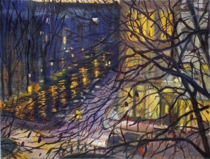 Hoek Prinsengracht-Looiersgracht, Amsterdam, olieverf, 19 x 25 cm, 12/2006, huile, Amsterdam