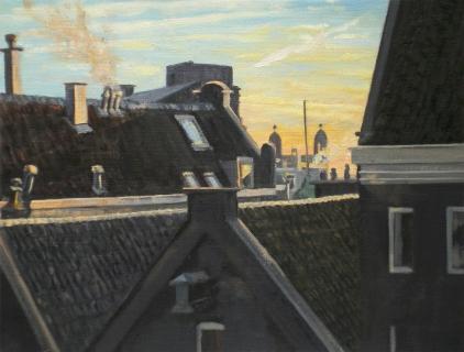 Torentjes Damrak 22, vanuit Spuistraat, A'dam, olieverf, 19 x 25 cm, 1/2007, huile, Amsterdam
