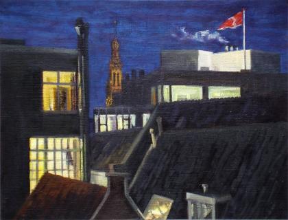 Oude Kerk, gezien vanuit Spuistraat, A'dam, olieverf, 19 x 25 cm, 1/2007, huile, Amsterdam