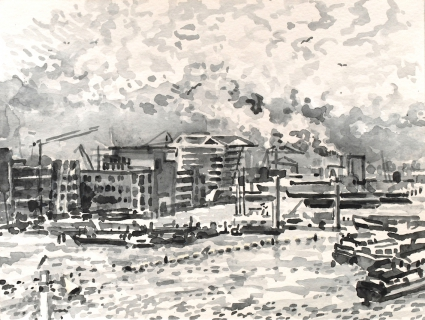 Houthaven, Amsterdam, sumi-inkt, 18 x 24 cm, 10/2019, encre sumi, Le port d'Amsterdam