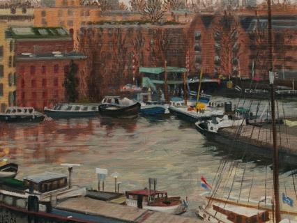 Van Diemenstraat-Houtmankade, A'dam, olieverf, 19 x 25 cm, 1/2008, huile, Amsterdam