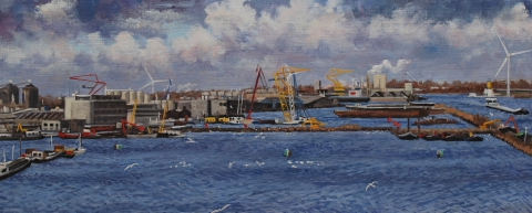 Houthaven Amsterdam, olieverf, 19 x 46 cm, 1/2008, huile, Le port d'Amsterdam