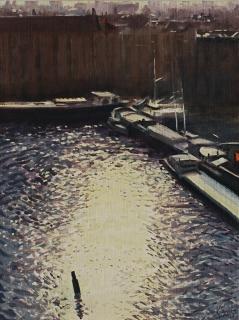 Van Diemenkade, Amsterdam, olieverf, 25 x 19 cm, 2/2008, huile, Amsterdam