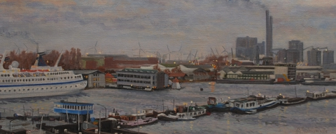 Houthaven Amsterdam, olieverf,19 x 46 cm, 3/2008, huile, Amsterdam