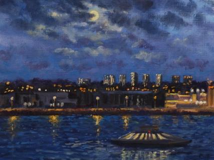 Volle maan boven de Grasweg, Amsterdam, olieverf, 19 x 25 cm, 3/2008, huile, Amsterdam
