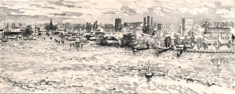 Grasweg, Amsterdam, sumi-inkt, 19 x 48 cm, 10/2019, encre sumi, Amsterdam