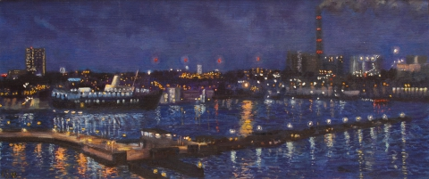 Houthaven, Amsterdam, olieverf, 19 x 46 cm, 4/2008, huile, Le port d'Amsterdam