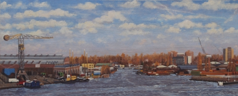 Uitzicht Silodam, richting Klaprozenweg, A'dam, olieverf, 19 x 46 cm, 4/2008, huile, Amsterdam