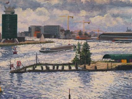 Het Stenen Hoofd, Amsterdam, olieverf, 19 x 25 cm, 5/2008, huile, Amsterdam