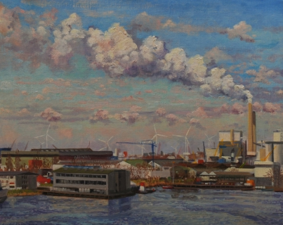 Houthaven, Amsterdam, olieverf, 30 x 38 cm, 3/2009, huile, Le port d'Amsterdam